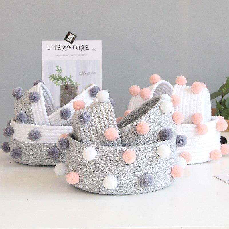 Ins bolas de lã algodão corda tecido cesta armazenamento desktop cosméticos organizador estilo nórdico artigos diversos roupas sujas cestas de lavanderia