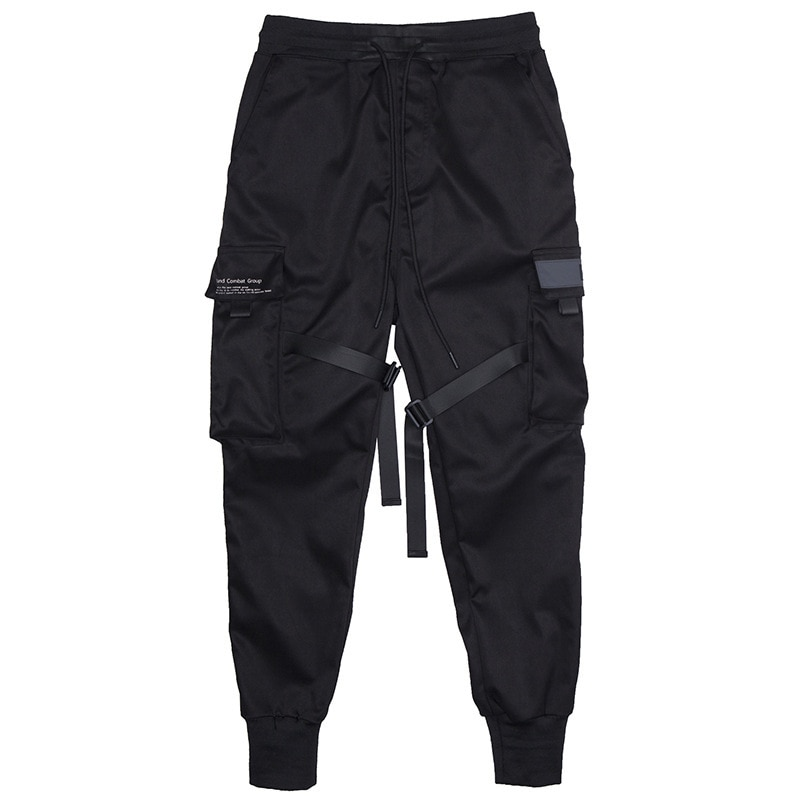 Male Harajuku Fashion Trousers 2021 Ribbons Men Jogger Sweatpants Men's Cargo Pants Streetwear Hip Hop Casual Black Harem Pants