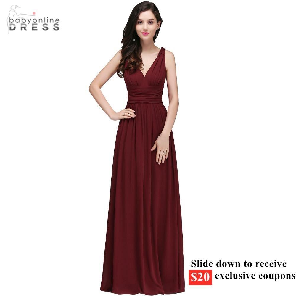 С $20 купоном элегантные бордовые Длинные вечерние платья с v-образным вырезом шифоновые вечерние платья без рукавов с рюшами vestido de festa