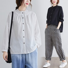 Cotton Linen Long Sleeve Blouse Art plus Size Women's Clothing 2021 Spring Solid Color Casual Loose