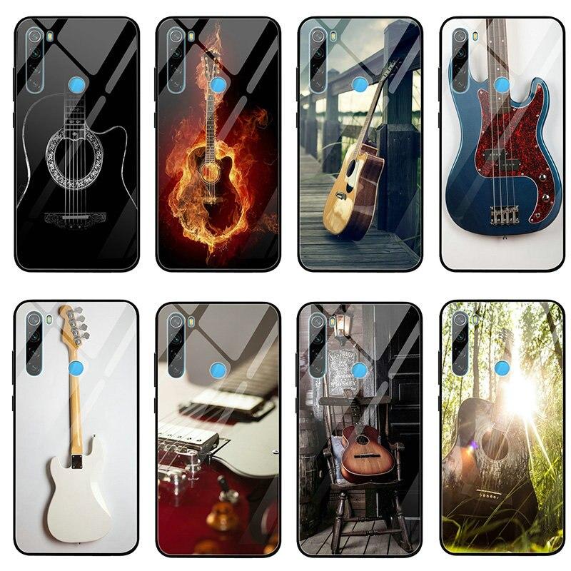 El amor guitarra música fundas de teléfono de cristal templado para Xiaomi Redmi Nota 4 4X 5A 5S 6X 7 7A 8 8A 9 SE A1 A2 Lite Plus casos