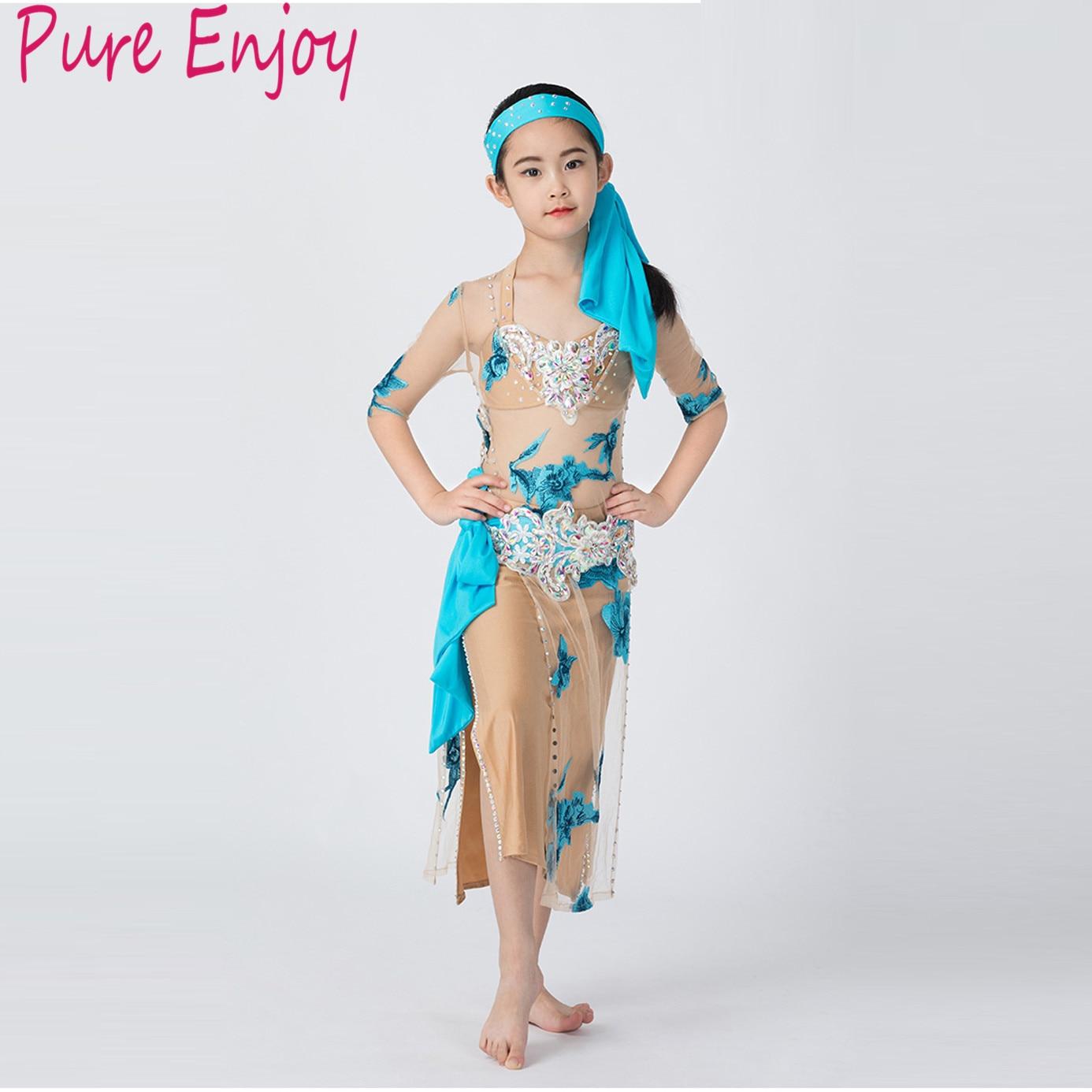 Nuevo niño de lujo lentejuelas danza de la danza del vientre traje de danza del vientre vestido de actuación vestido 5 piezas conjunto