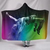 colorful dancing girl 3d printed wearable blanket adults for kids various types hooded blanket fleece blanket 01