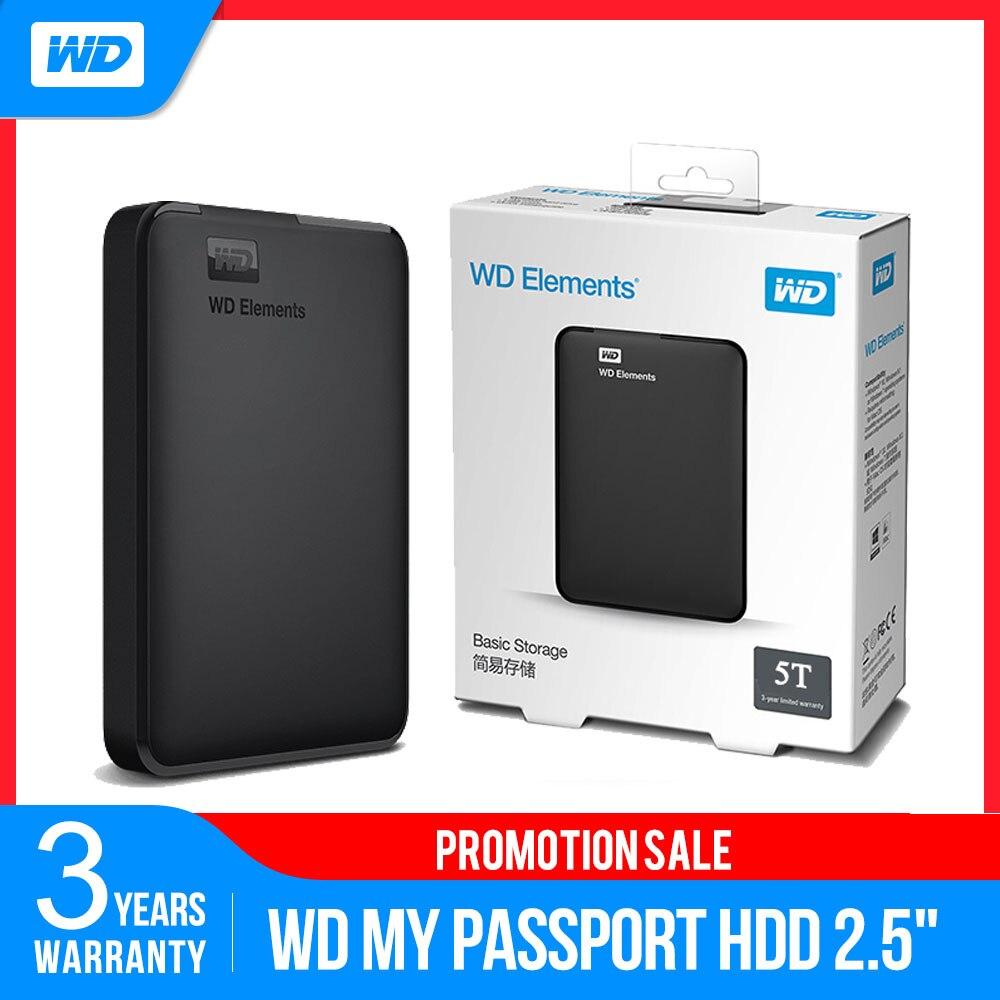 الأصلي WD عناصر المحمولة الخارجية HDD 500GB 1 تيرا بايت 2 تيرا بايت 3 تيرا بايت 4 تيرا بايت 5 تيرا بايت 2.5 USB 3.0 قرص صلب لأجهزة الكمبيوتر المحمول