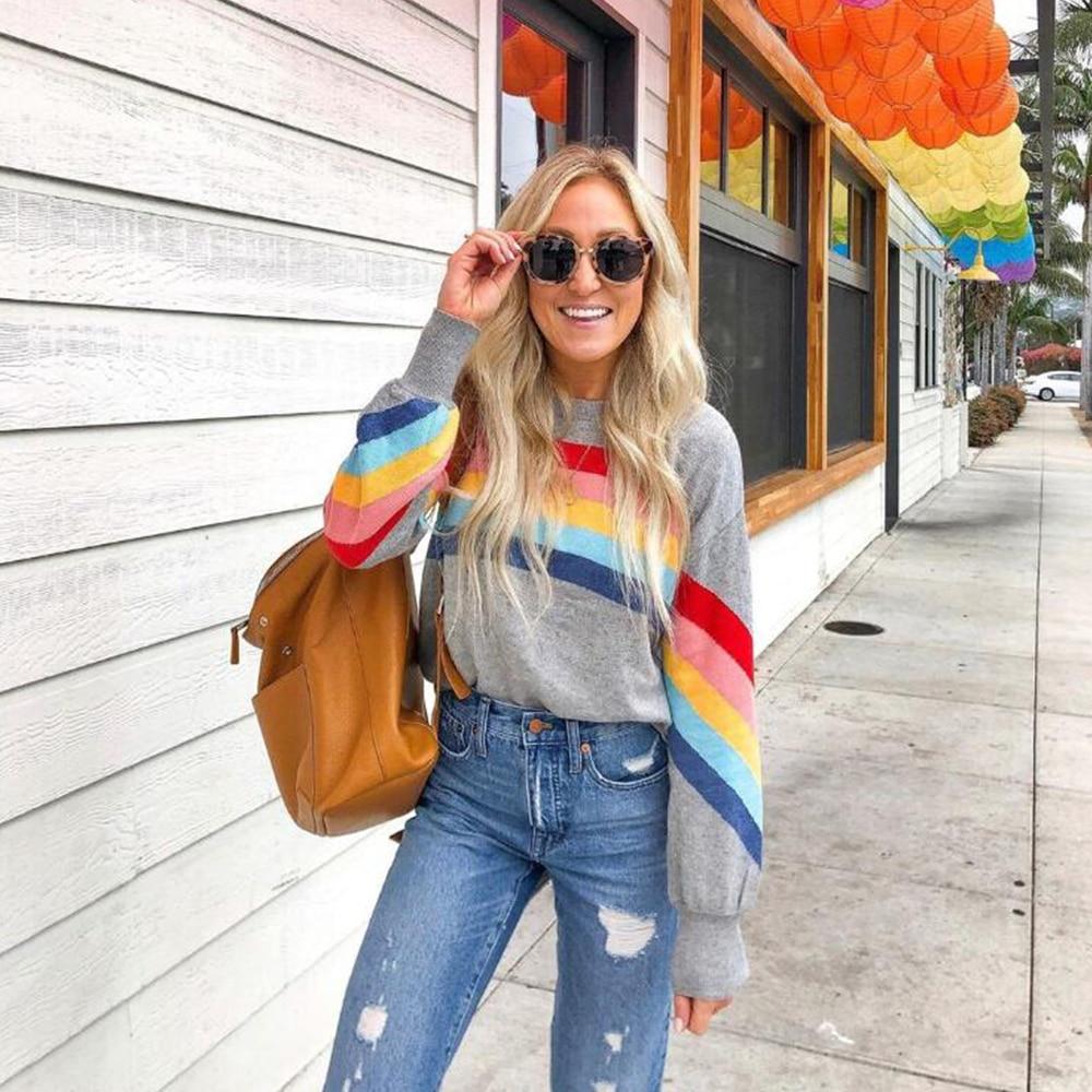 2020 nova oqc mulheres arco-íris básico suéteres casual moda regular manga comprida retalhos para feminino topos pullovers d30