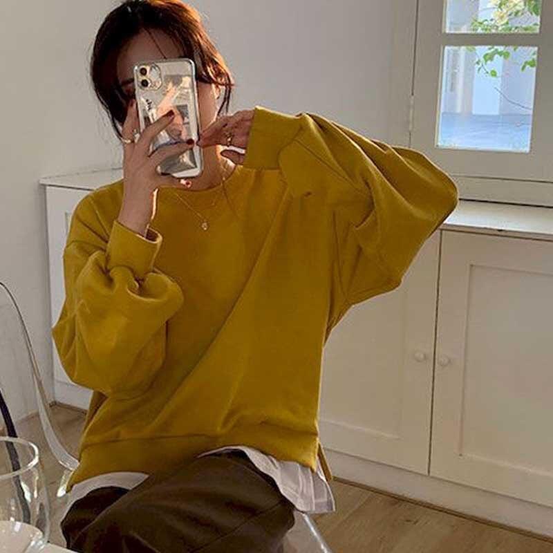 Novo splicing falso de duas peças em torno do pescoço feminino outono 2020 hoodies casual versão coreana solta all-match topos all-match na moda hoo
