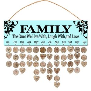 New Year Wooden Family Birthday Reminder Calendar Board Wall Hanging 2020 Decor