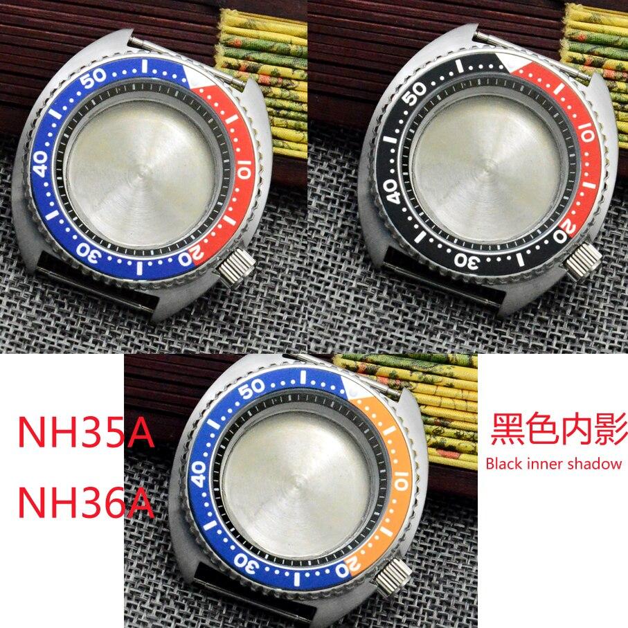 بديل SK abalone علبة ساعة مناسبة لـ NH35A NH36A, تاج حلزوني ، أسود ، أحمر ، سبيكة ، غطاء خلفي معدني