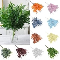 artificial silk willow leaves long branch green fake plants spring wedding home decoration arrangement accessories faux foliage