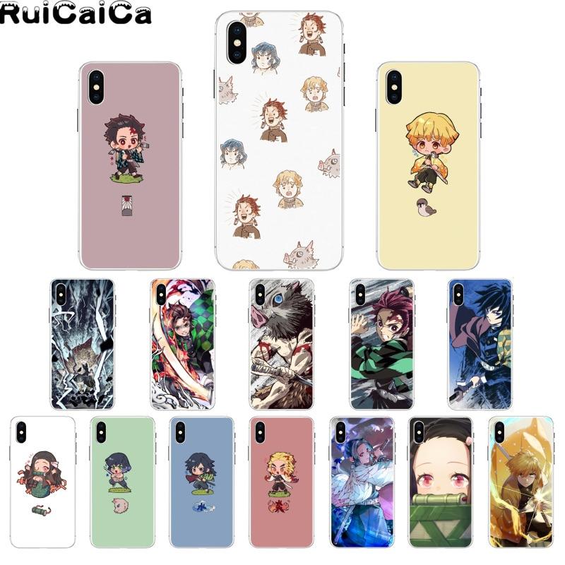 RuiCaiCa Demon Slayer Kimetsu No Yaiba DIY Printing Drawing Phone Case for iPhone 8 7 6 6S Plus X XS MAX 5 5S SE XR 11 11pro