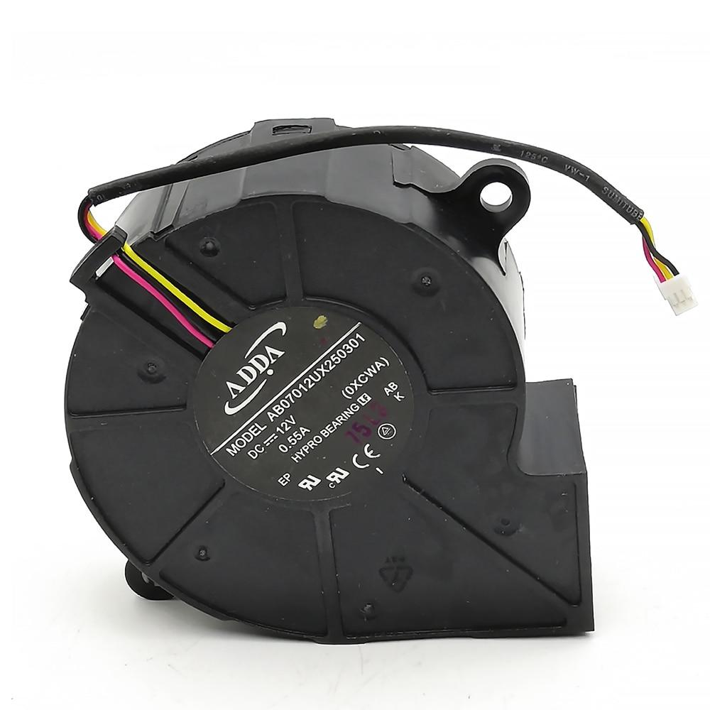 Nuevo para ADDA AB07012UX250301 7cm 12V 0,55a turbina centrífuga-ventilador de proyector ventilador de refrigeración-Distancia de posición del agujero 75mm