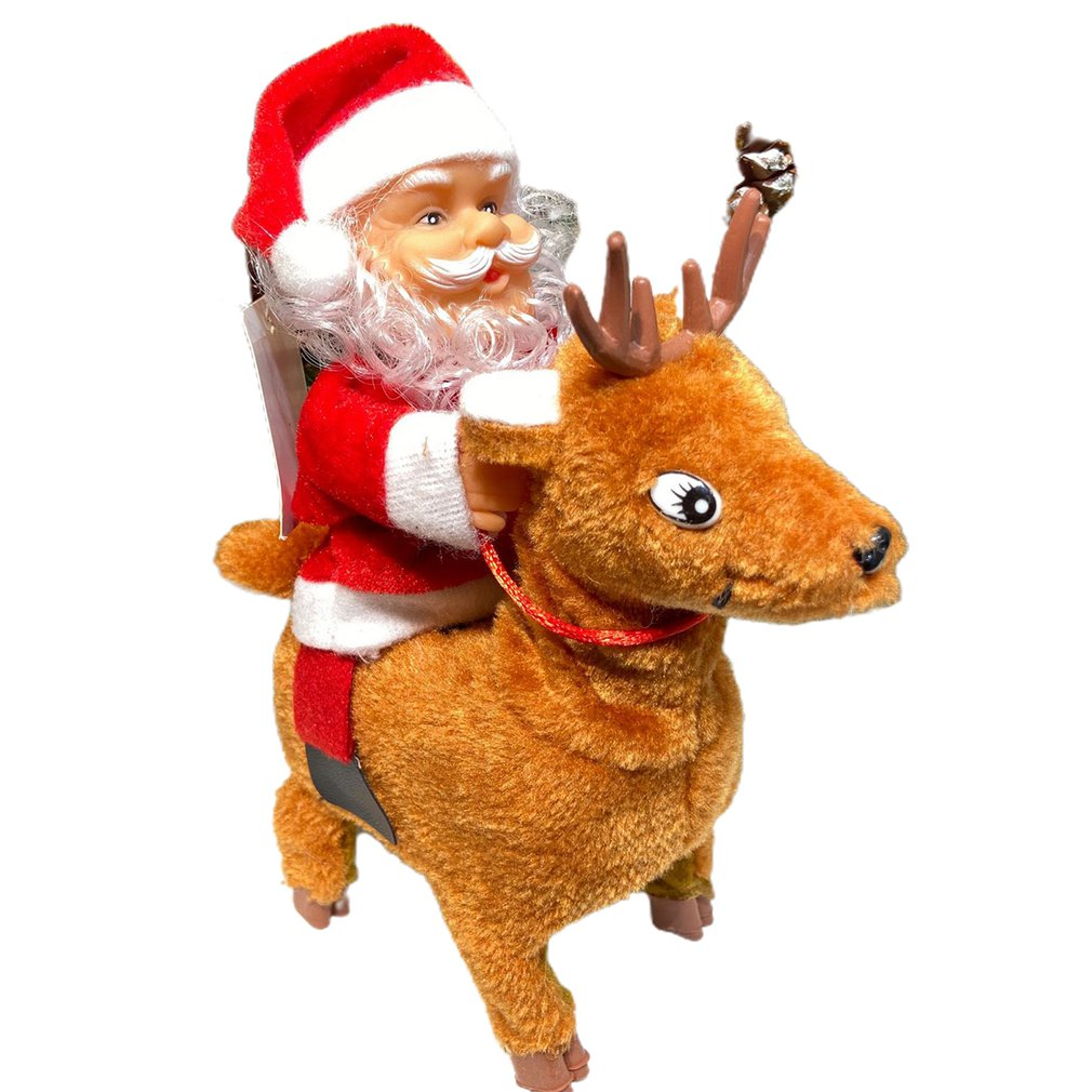 Santa Claus Riding On Elk Electric Musical Toy Santa Claus Electric Deer Gift For Kids Christmas Holiday Decoration недорого