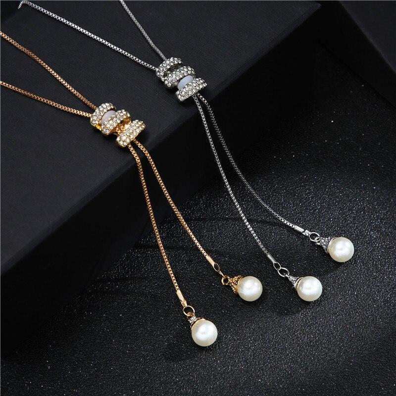 2020 nuevo Otoño Invierno moda Metal borla larga brillantes de imitación, cristales y perlas collar de cadena larga suéter fiesta collar joyería