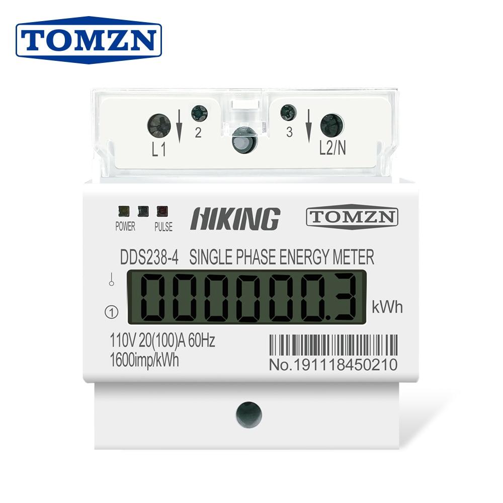 20(100)A 110V 60HZ DDS238-4 carril Din monofásico KWH Watt hora din-rail medidor de energía LCD
