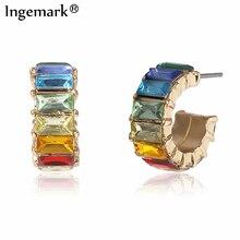 Ingemark Koreanische Regenbogen Gothic Kleine Stud Ohrring Dünne Boho Spiegel Minimal Charme Piercing Ball Ohrringe Stud Ringe Hoops Geschenk