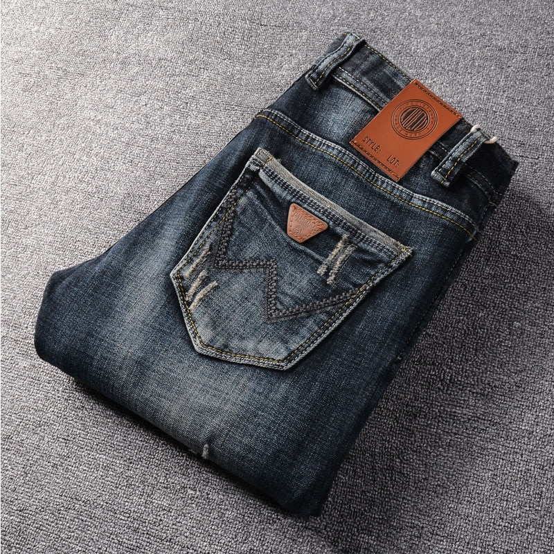 Мужские джинсы, Мужские Молодежные трендовые прямые узкие джинсы высокого качества, джинсовые брюки, повседневные мужские модные рваные бр...