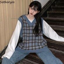 Gilet femmes Plaid Vintage Harajuku élégant Street-wear col en v sans manches chandails étudiants style coréen ample décontracté mode Chic