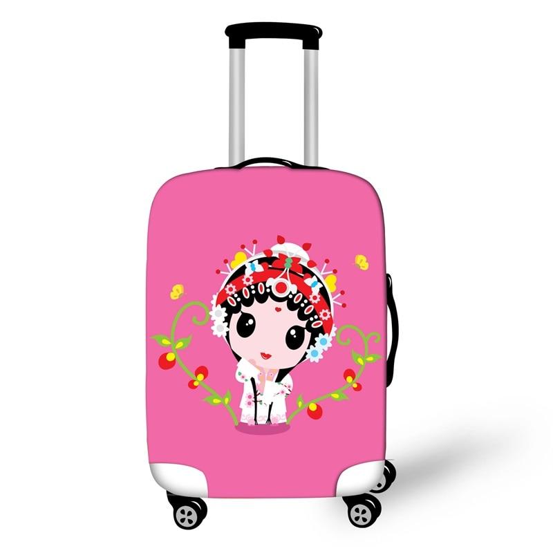 Peking estilo ópera Fundas protectoras de equipaje impermeable mujeres valise bagajes roulettes rosa de dibujos animados funda protectora para maleta