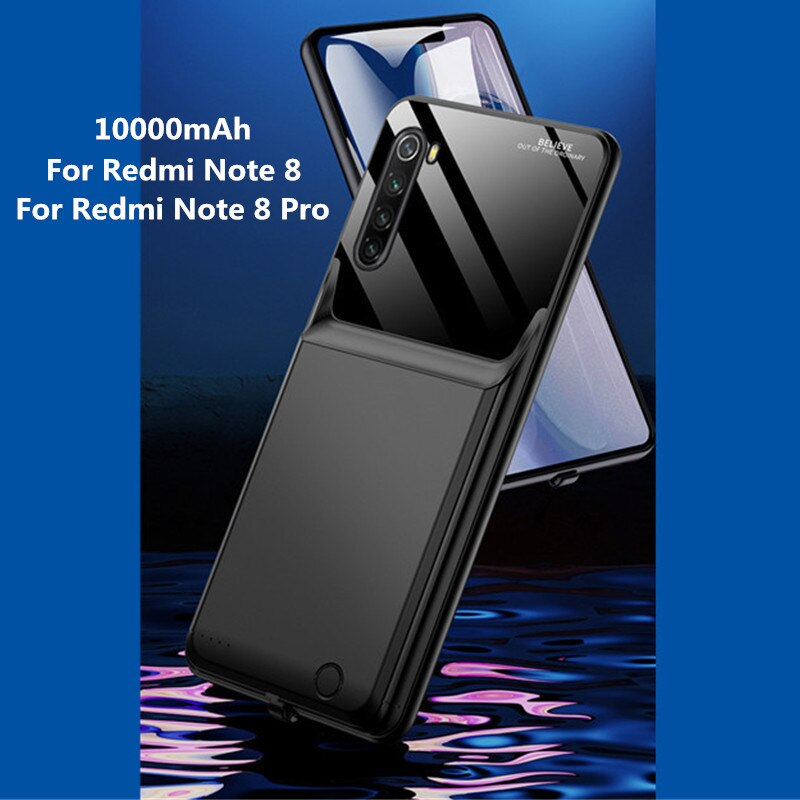 10000mAh بطارية الهاتف المحمولة غطاء الطاقة ل Redmi نوت 8 قوة البنك ل شاومي Redmi نوت 8 برو بطارية احتياطية شاحن الطاقة