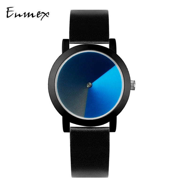 2019  Enmex creative design girl wristwatch Psychedelic blue brief hit color simple face nature fashion quartz lady watches enlarge