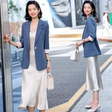 Fashionable Suit Dress Outfit nv chun zhuang 2021 nian New Style Korean-style Slimming Strap Dress T