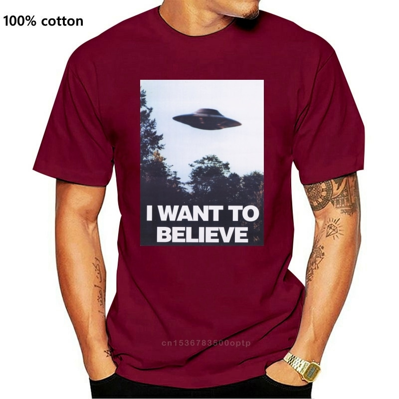 New T Shirt Deals Broadcloth Men Comical Shirt Men X Files I Want To Believe Aliens Ufo T Shirt Exclusive Stickers