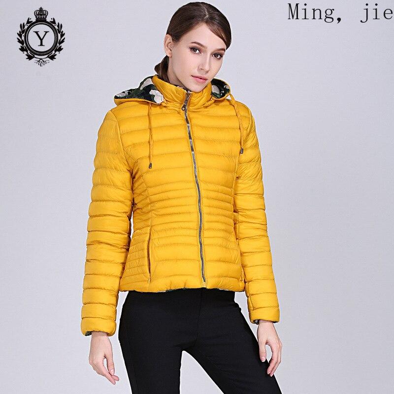 Тонкая короткая куртка из хлопка, Женская двухсторонняя камуфляжная куртка с капюшоном из хлопка, мягкая куртка, роскошная теплая пузырько...