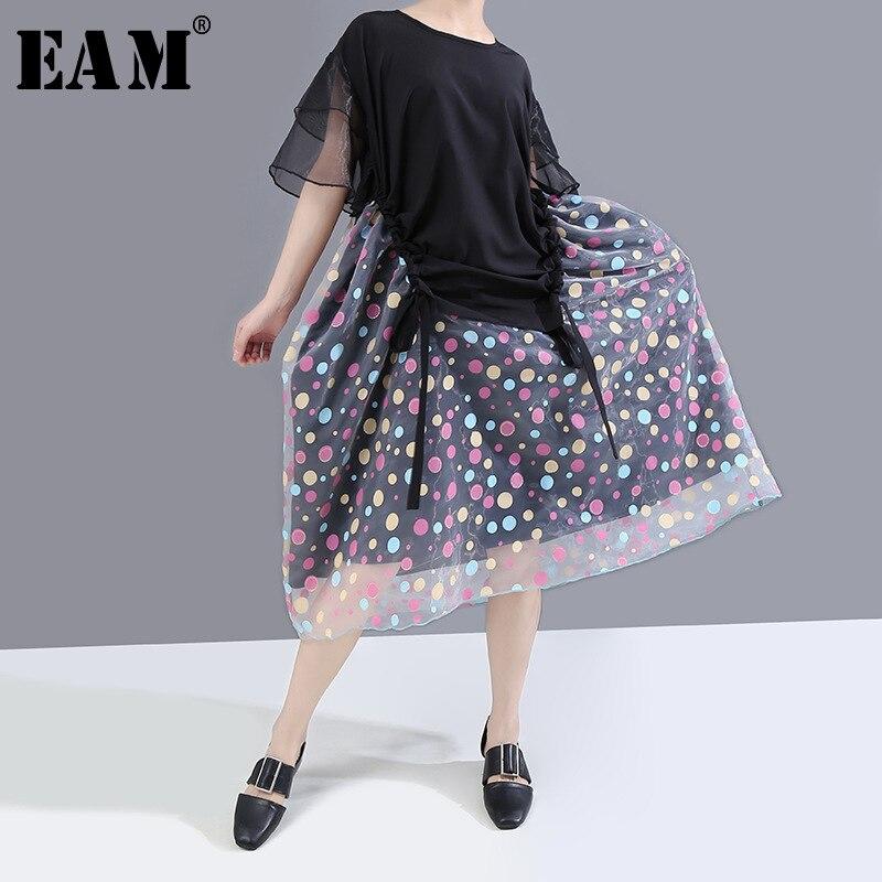 [EAM] Women Black Dot Organza Split Big Size Dress New Round Neck Half Sleeve Loose Fit Fashion Tide Spring Summer 2020 1U160