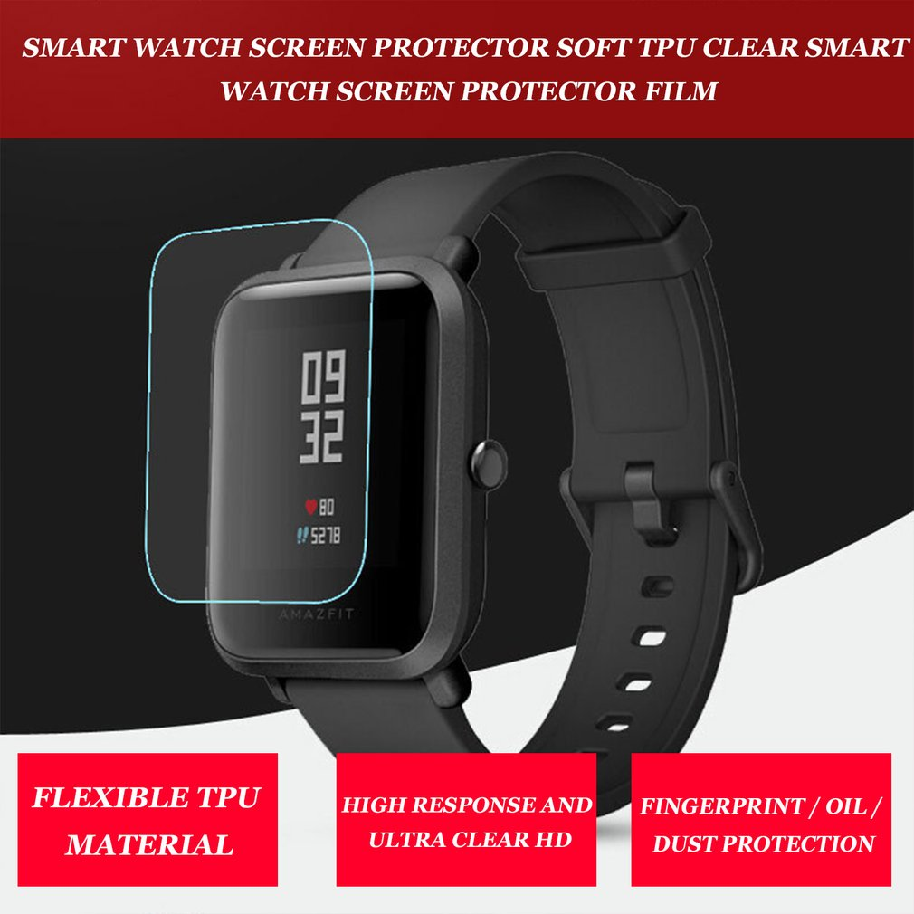 2 uds TPU suave HD película protectora transparente para MI4 Huami Amazfit Bip BIT Ritmo ligero Smart Watch cubierta protectora de pantalla completa