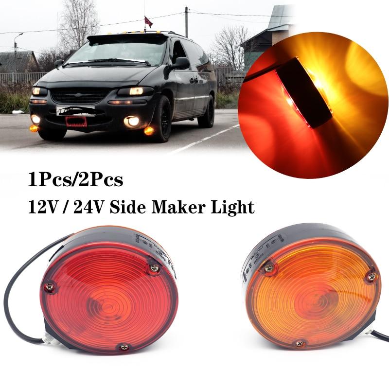 1x/2x 12V/24V Trailer Truck Lorry Amber/Red Mirror Side Marker Lamp Roadway Safety Traffic Light Truck Trailer Lorry Caravan Van