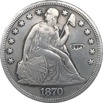 1870-CC Sentado Dólar Liberdade MOEDAS COPIAR