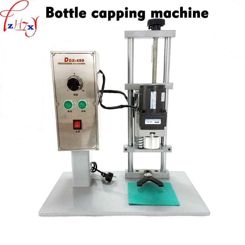 DDX-450 سطح المكتب التلقائي الكهربائية زجاجة آلة السد ، السد القطر 10-50 مللي متر آلة تلولب بغطاء ، كاب قفل آلة 220V