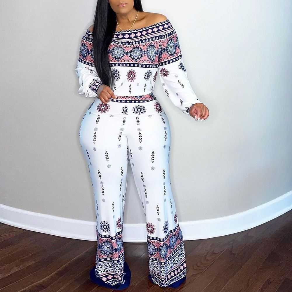 XL-5XL النساء حللا حجم كبير أنيقة الأبيض العرقية المطبوعة الأفريقية موضة الربيع قبالة الكتف مثير وزرة بذلة السيدات