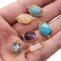 2pcs natural stone charms connectors pendants rectangle amethysts double hole jewelry making diy necklace bracelets size 11x20mm