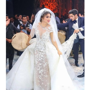 Luxury Mermaid Lace Wedding Dresses With Detachable Train Backless Short Sleeve Bridal Gowns Plus Size Vestidos De Novia