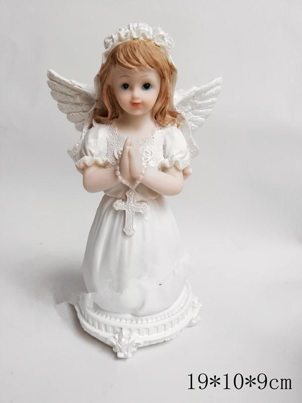 11*7*6cm cristiano Catolico Primera Comunión de rodillas oración pequeña estatua de Ángel Decoración Para Niña