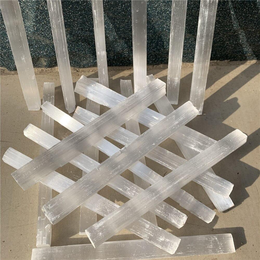 20 piezas 10-15cm piedra selenita natural varita de yeso blanco reiki cristales de curación energía columna fengshui decoración del hogar