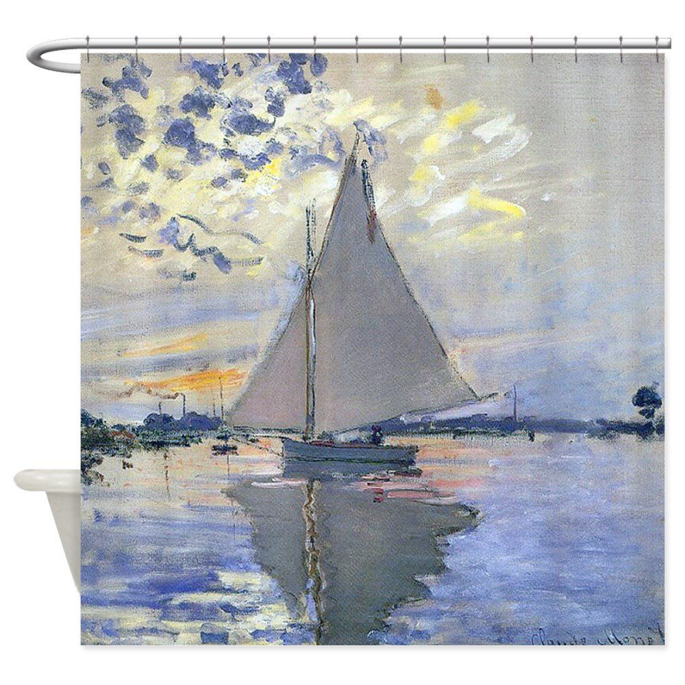 Claude Sailboat Decorative Fabric Shower Curtain