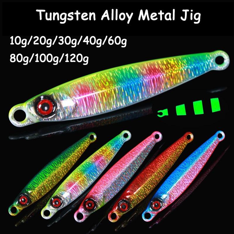10g-120g Luminous Tungsten Metal Jig Bait Fast Sinking Metal Spoon Fishing Lures Saltwater/Freshwater Sea Tackle Accessories