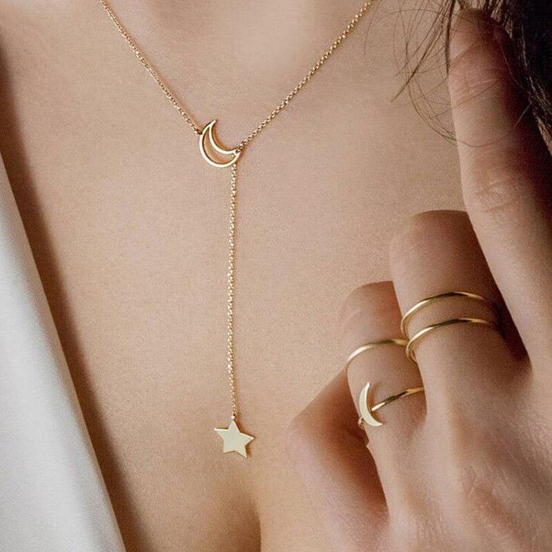 Luna creciente estrella Lariat Y collar mujeres colgante Acero inoxidable oro Y Rosa ajustable de oro mamá esposa regalos de aniversario