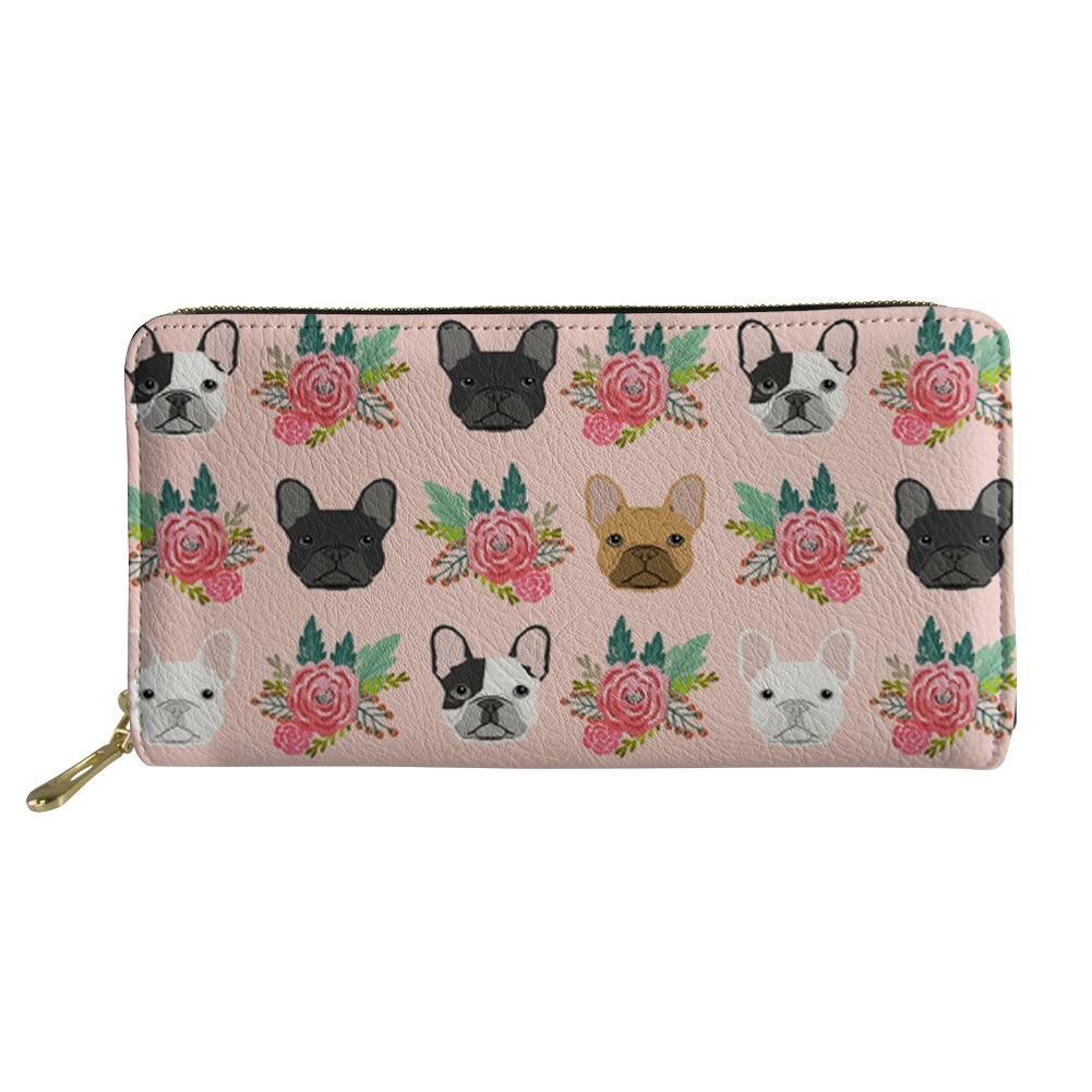 Cartera de teléfono de moda para mujer, carteras, bolsos, monedero, estampado Floral, Bulldog Francés, cartera de mano larga, cartera, tarjetero de identificación