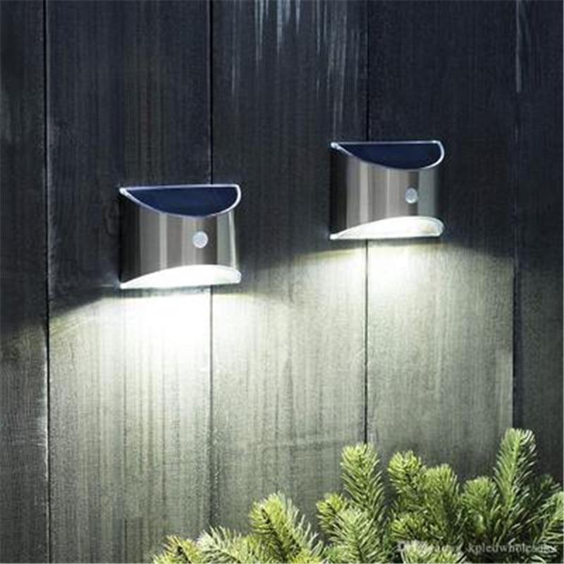 2 قطعة LED الفولاذ المقاوم للصدأ الشمسية جدار ضوء في الهواء الطلق حديقة سياج مصباح المشهد الممشى الفناء المياه واقية أضواء