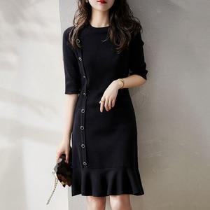 Dress Single-breasted Mid-sleeve Slim-fit Fishtail Fashion Black Summer Women's Dress 2021 Suit Office Lady Sweet