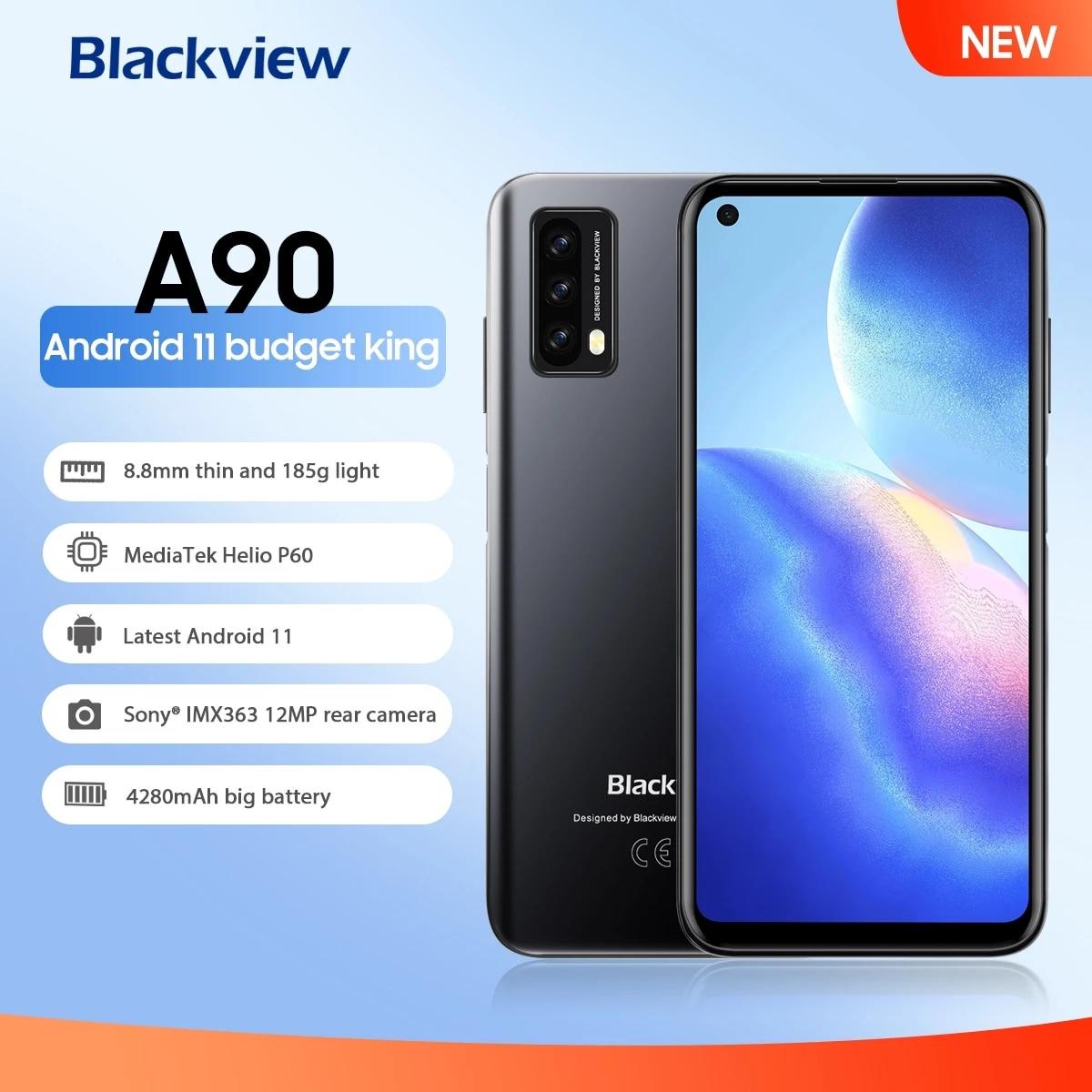 Перейти на Алиэкспресс и купить Оригинальный Blackview A90 смартфон 4 Гб + 64 Гб Helio P60 Octa Core 12MP HDR Камера Android 11 мобильный телефон 4280 мА/ч, 4G, LTE, мобильный телефон