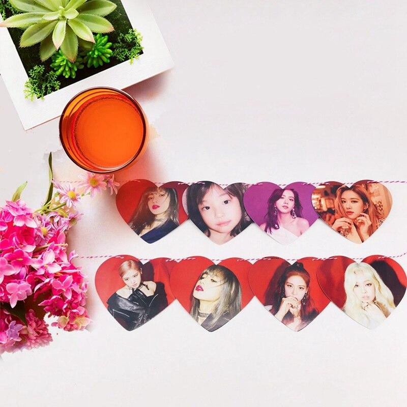 Gran venta K-POP BLACKPINK GOT7 TXT corazón bandera cartel nueva moda HD colgar foto ventilador serie de regalo decoración