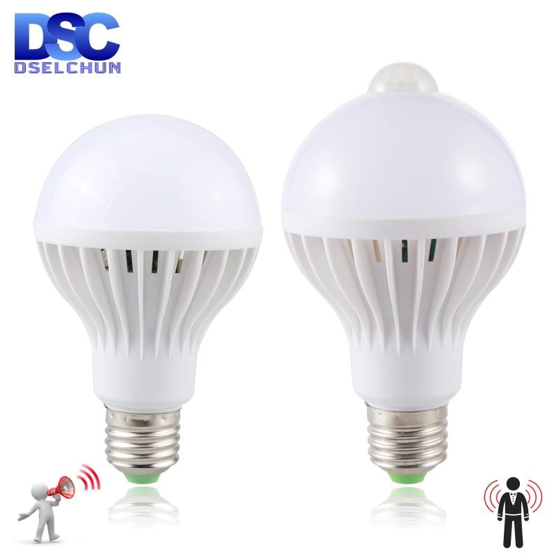 Led Bulb 3W 5W 7W 9W PIR Motion Sensor Lamp AC 220V 230V Auto Smart Led PIR Infrared Body Sound Ligh