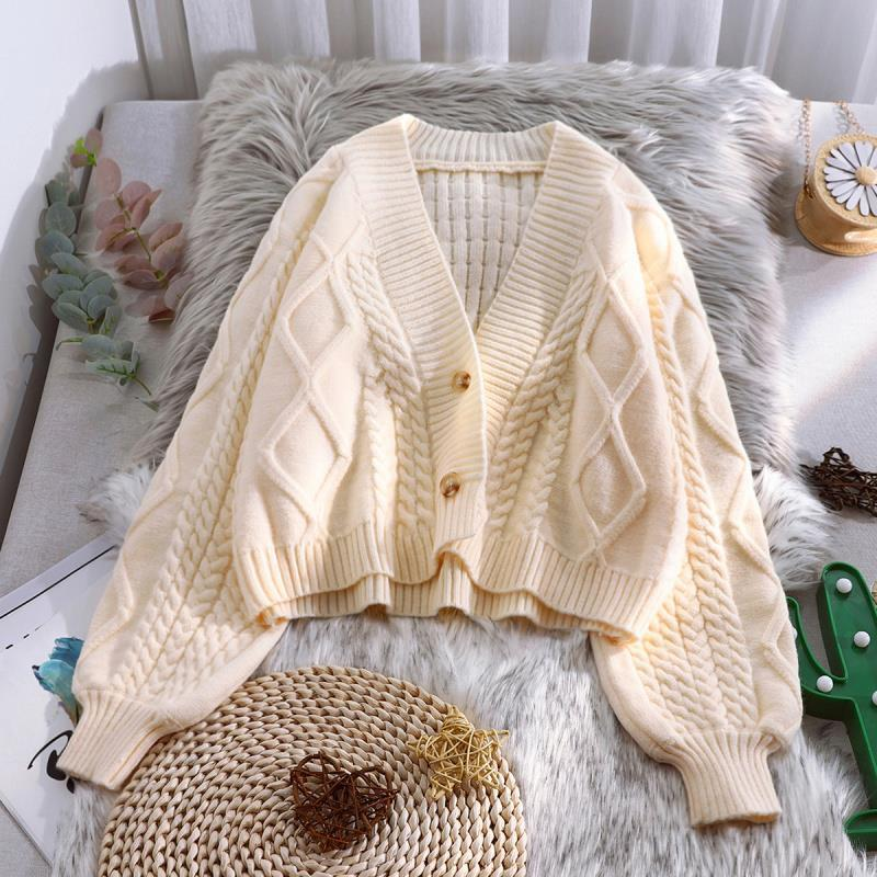 Lantern Sleeve Cardigan Knitted Sweater Women 2021 Autumn Winter Long Sleeve Solid Sweaters Coat & J