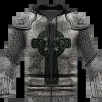 irish armor warrior knight chainmail hoodie 3d all over printed for menwomen sweatshirt springautumn casual pullover zipper