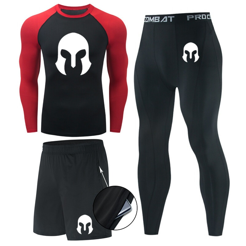 Men's Compression Sports Suit MMA rashgard male Quick drying Sportswear Clothing Fitness Training ki