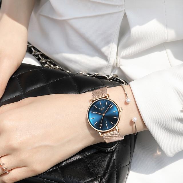 2021 Women's Watch LIGE Top Brand Luxury Women Fashion Casual All Steel Ultra-Thin Mesh Belt Quartz Clock Relogio Feminino+Box enlarge